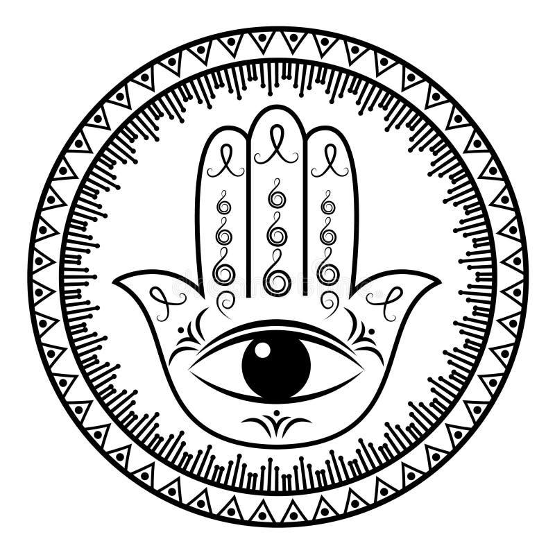 Hamsa lub ręka Fatima, szczęście urok ilustracja wektor