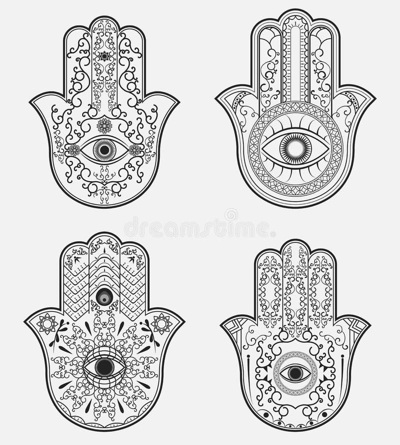 Hamsa Mano de Fátima ilustración del vector