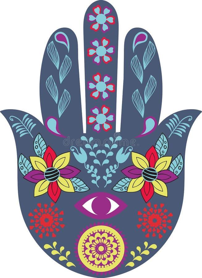 Hamsa nand talisman Mano di Fatima nel vettore Immagine a colori illustrazione di stock