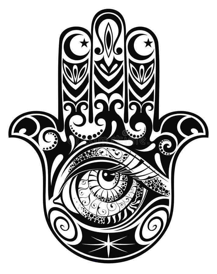 Hamsa ręka z okiem ilustracji