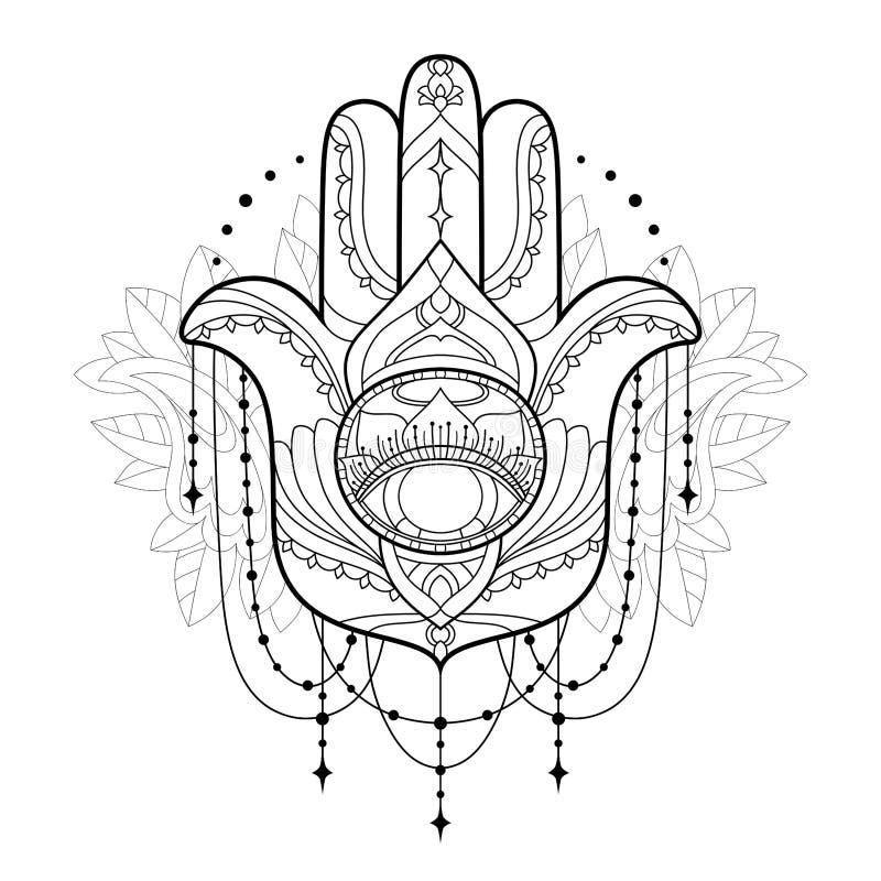 Hamsa symbol Den monokromma vektorillustrationen isoleras på en vit bakgrund Esoterisk skyddande amuletthand av Fatima stock illustrationer