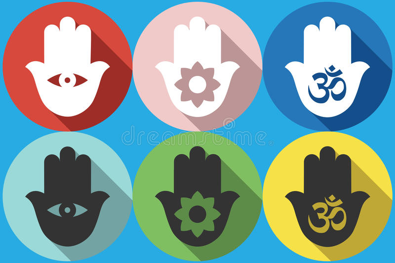 Hamsa symbol Icon. Set Vector Indian symbol of hamsa. Hand of fatima. Vector flat design. Isolated icons on colorful backdrop. icon royalty free illustration