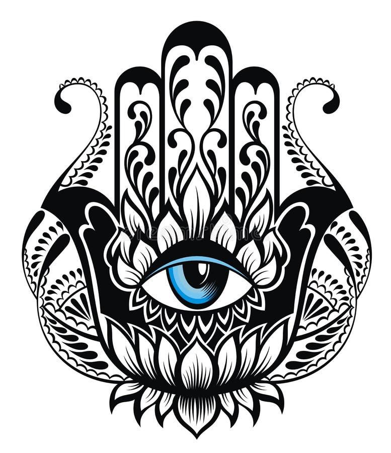 Hamsa symbol Räcka av Fatima kontrollera designbilden min liknande tatuering för portföljen vektor illustrationer