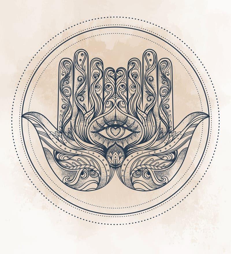 Hamsa tiré par la main fleuri Amulette arabe et juive populaire Vecto illustration stock