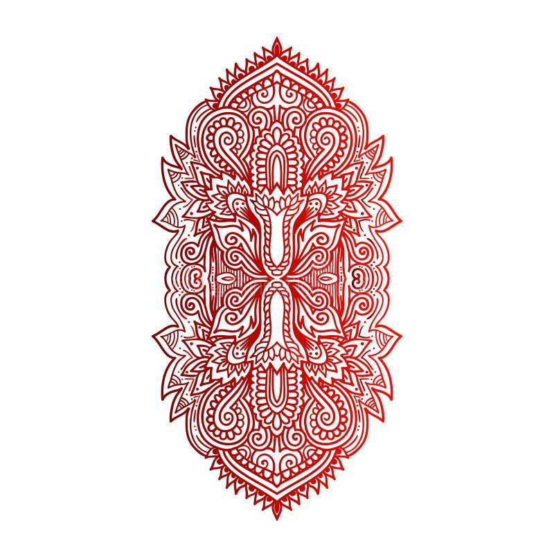Hamsa tiré par la main indien de vecteur avec les ornements ethniques Bel ornement d'ethnica d'Inde Style folklorique de tatouage illustration de vecteur