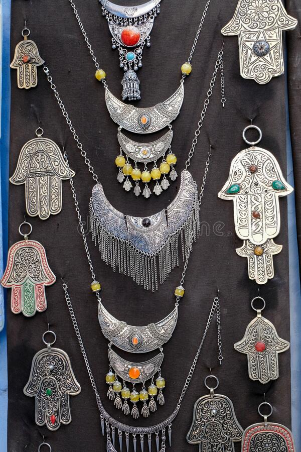 Hamsa, traditional symbol of protection in city of  Chefchaouen,Morocco stock image