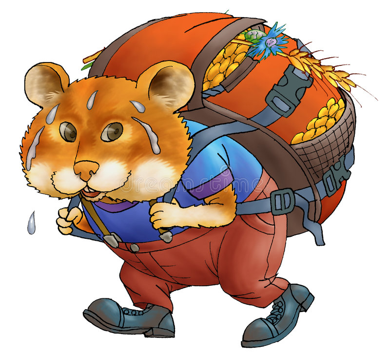 Hamster. The hamster bears a bag with grain. A bag heavy. Sweat is visible. A smile of a hamster. Humour. Figure on a white background stock illustration