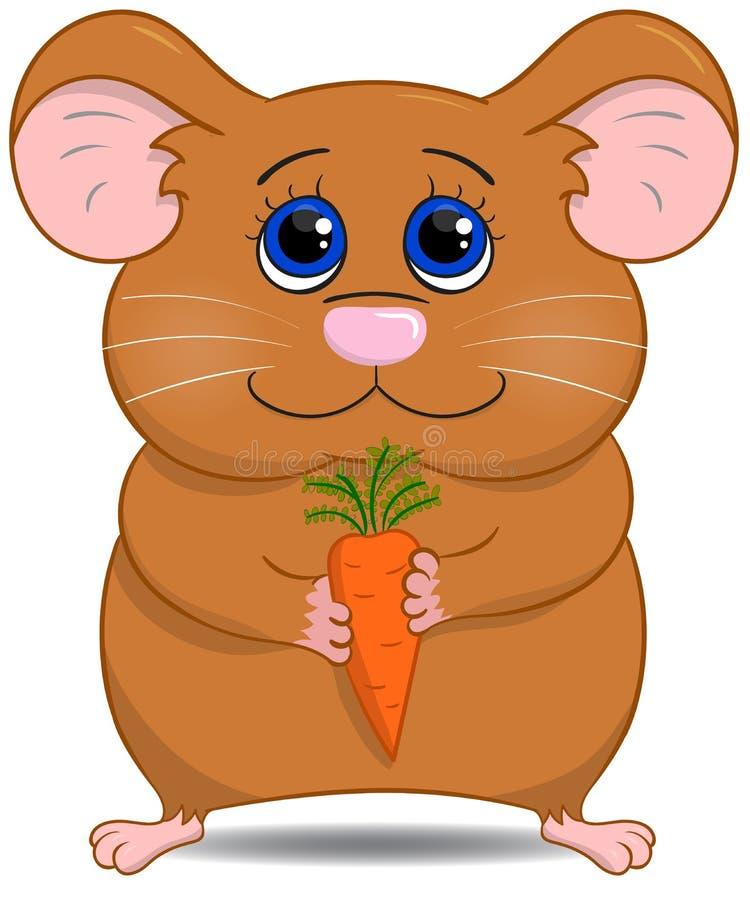 Hamster bonito com cenoura ilustração stock