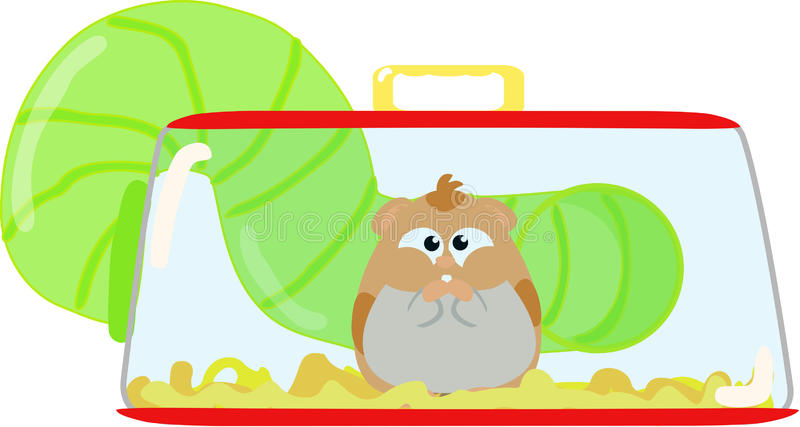 Hamster in cage. Cute hamster waiting in its cage vector illustration
