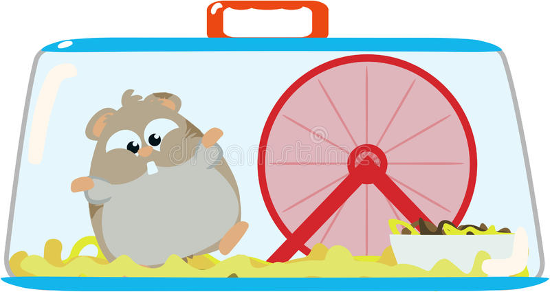 Hamster in cage. Cute hamster playing in its cage vector illustration