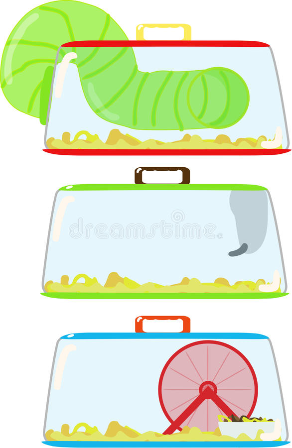 Hamster cages. Just a few various hamster cage styles stock illustration