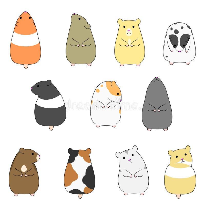 Hamster coloridos ajustados ilustração do vetor