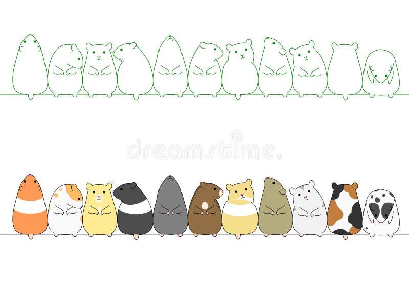 Hamster coloridos em seguido ilustração stock