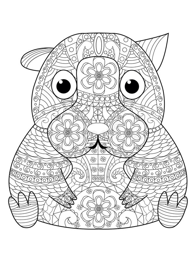 Download Hamster Coloring Book Vector For Adults Stock