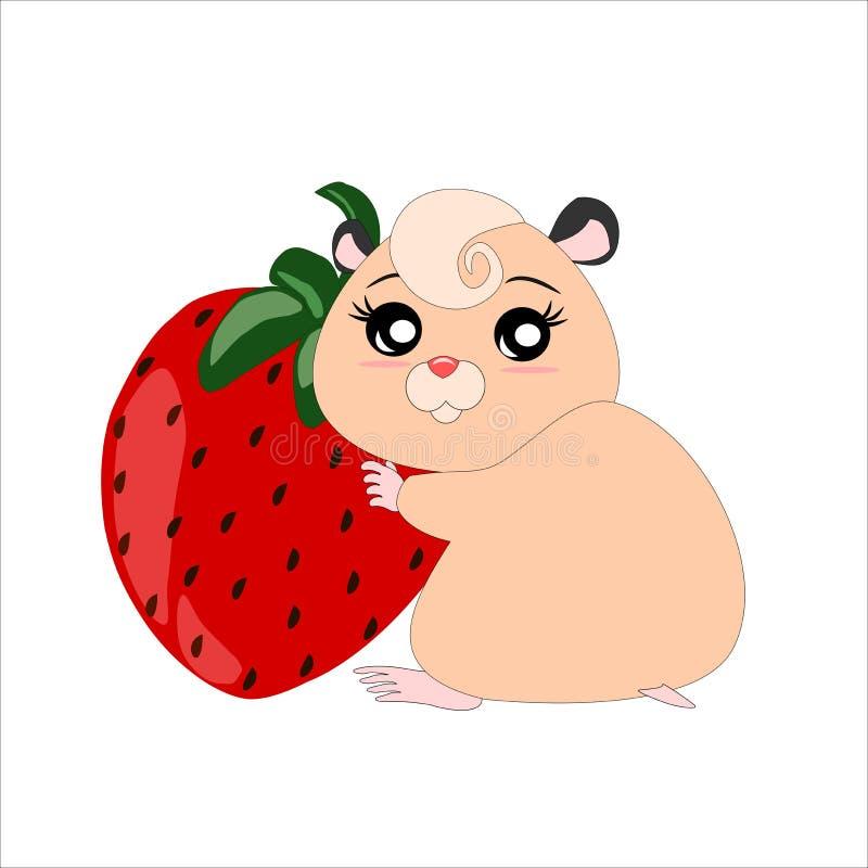 Hamster de bande dessinée avec la fraise illustration stock