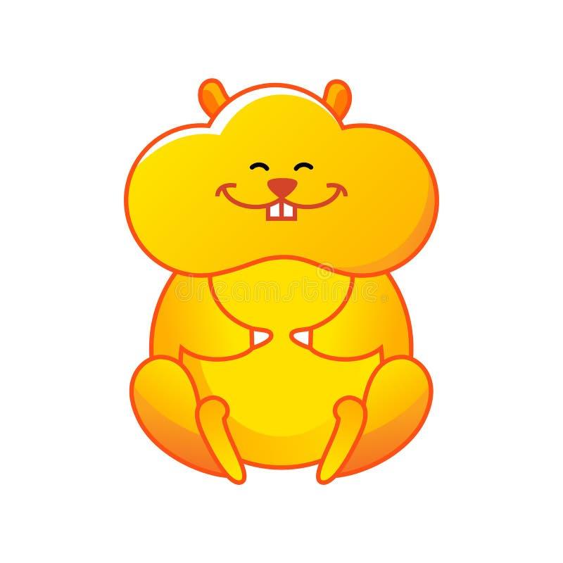 Hamster dos desenhos animados que senta-se e que sorri ilustração royalty free