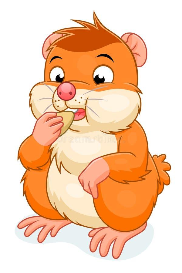 Hamster eats grain. Cute cartoon hamster eating the grain. Vector illustration stock illustration