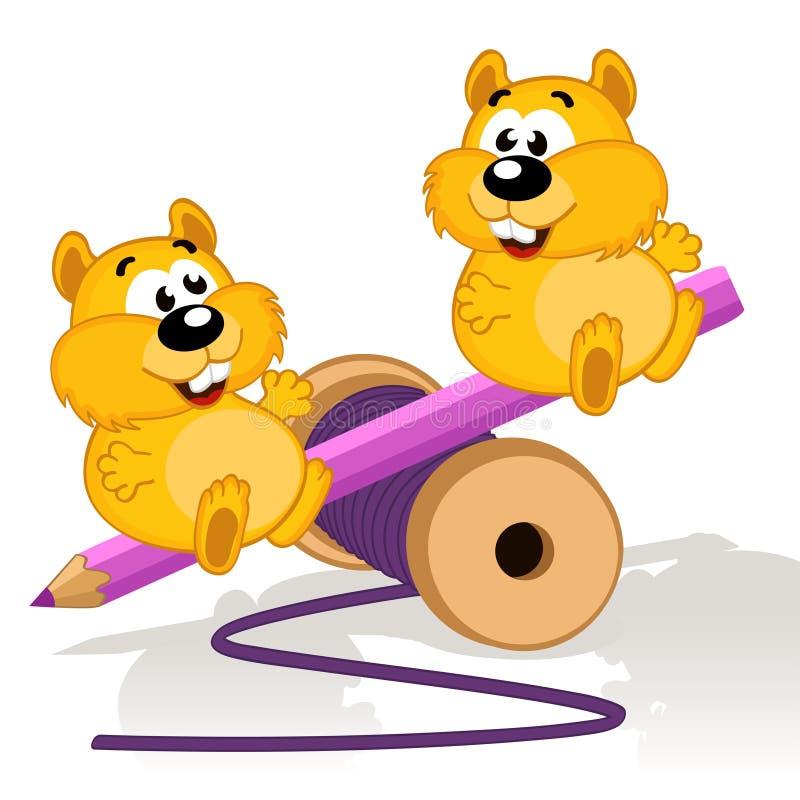 Hamster em um balanço ilustração royalty free
