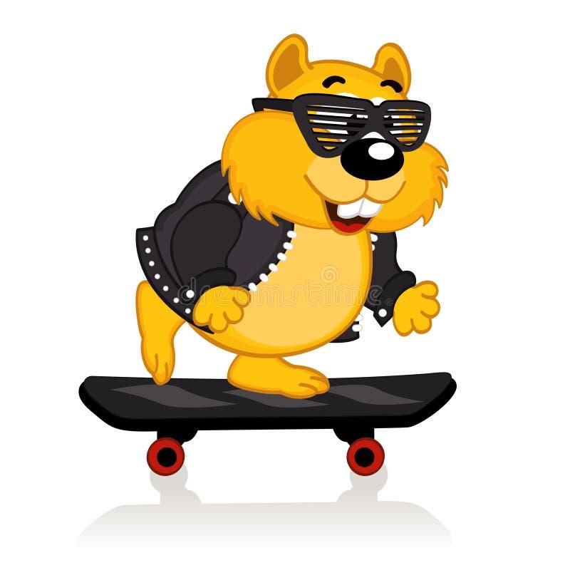 Hamster em um skate ilustração royalty free