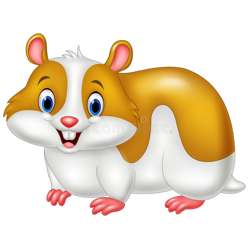 Hamster engraçado dos desenhos animados isolado no fundo branco ilustração stock