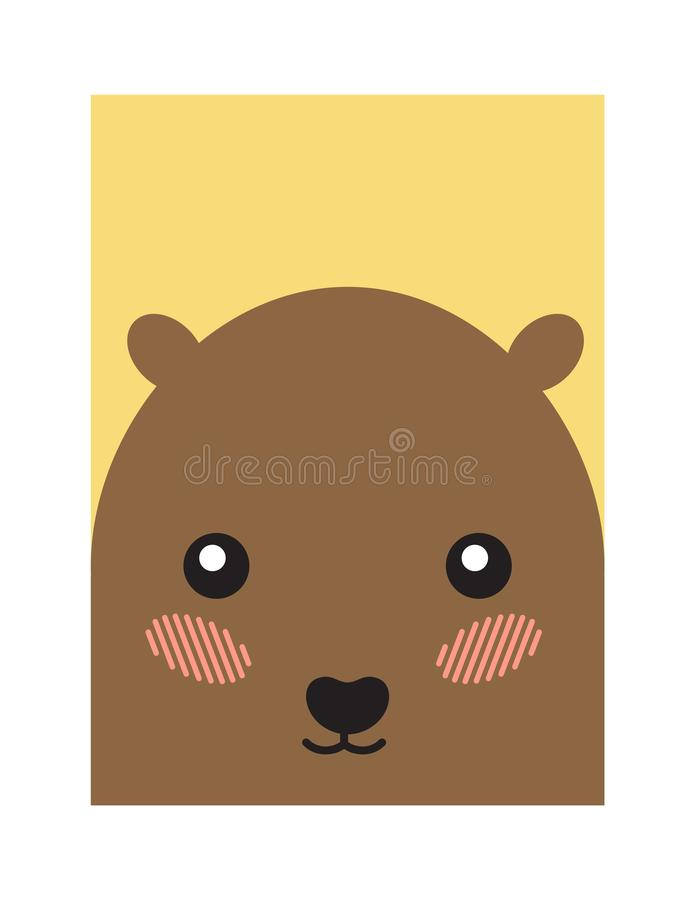 Hamster Head Book Cover Design Vector Illustration. Hamster head on book cover design vector illustration banner with cute animal isolated on beige background royalty free illustration