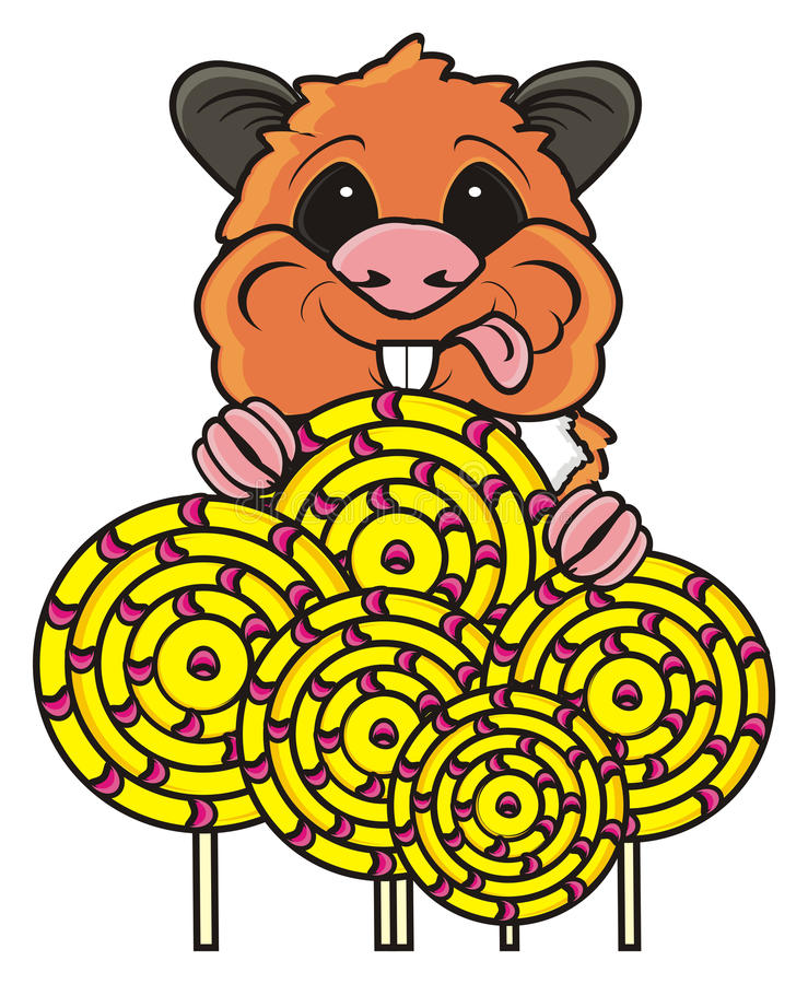 Hamster holding many candys. Happy hamster keeps many round candys in paws and showing a tongue stock illustration