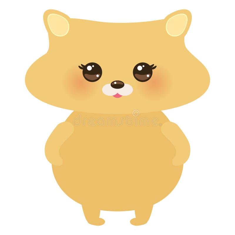 Hamster mignon de kawaii, couleurs en pastel sur le fond blanc Vecteur illustration libre de droits