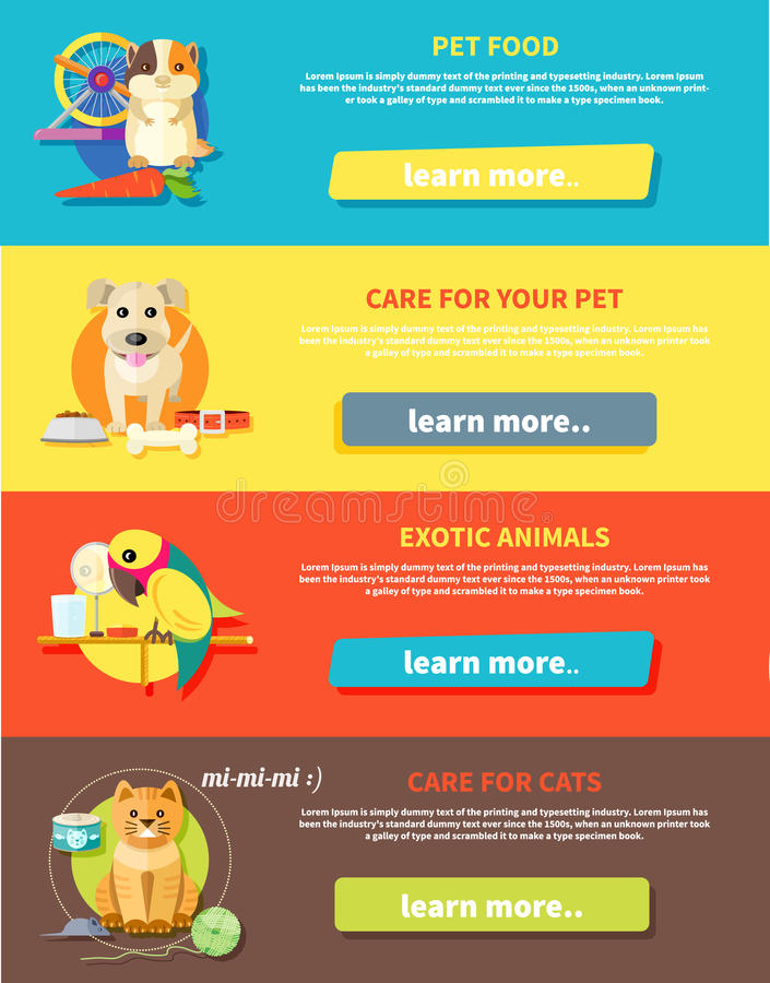 Hamster, parrot, cat and dog. Icon set with home animals silhouettes of pets on multicolor stylish banners. Hamster, parrot, cat and dog in flat design cartoon royalty free illustration