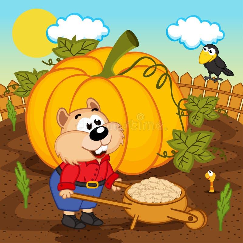 Hamster with pumpkin seeds. Vector illustration, eps vector illustration