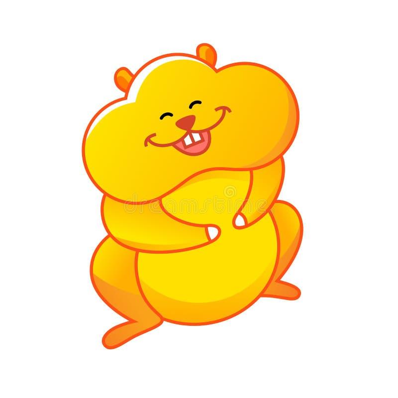 Hamster que está e que ri Estilo dos desenhos animados ilustração stock