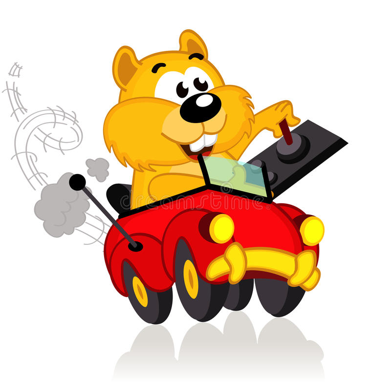 Hamster on a radio-controlled car royalty free illustration