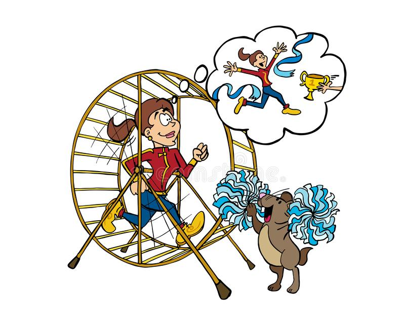 Young woman training inside of a hamster wheel. A young woman runs inside a hamster wheel as a training. She has a dream and a purpose that gives her energy royalty free illustration