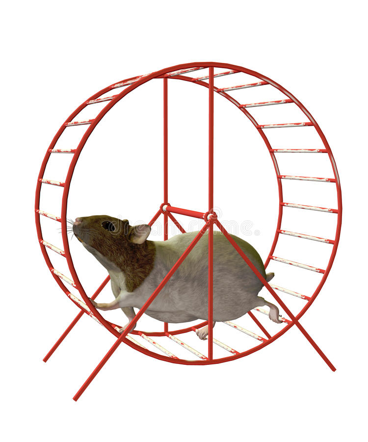 Hamster on a wheel. 3D render of a hamster on a wheel royalty free illustration
