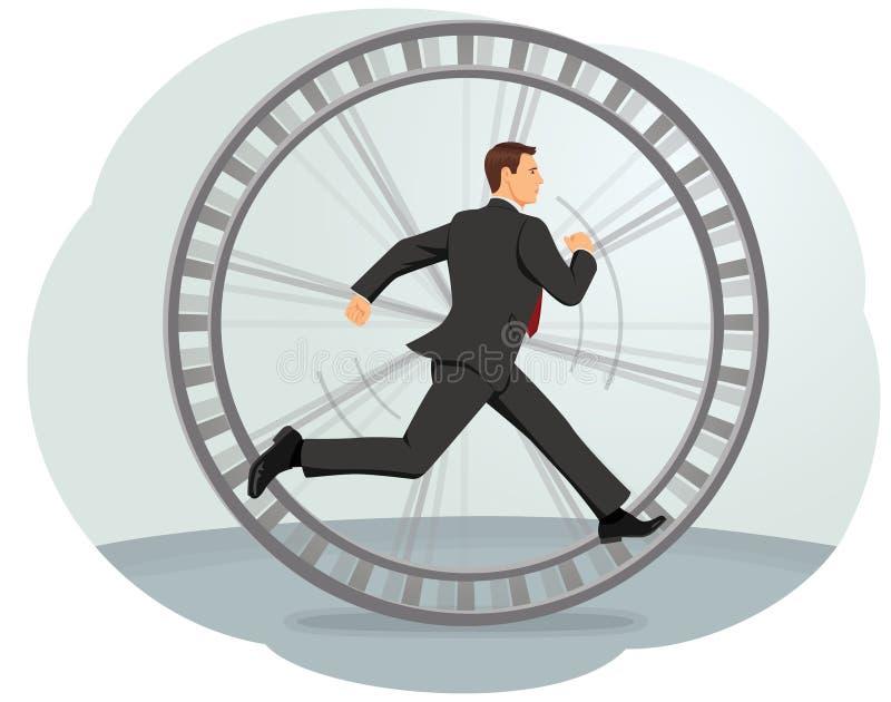 Hamster wheel. Businessman running in a hamster wheel. Inefficient work stock illustration