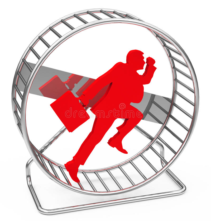 The hamster wheel. 3d generated picture of a hamster wheel and a running businessman royalty free illustration