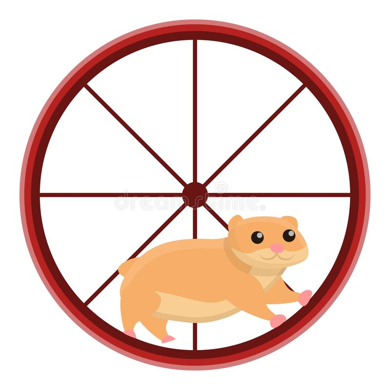 Hamster in wheel icon, cartoon style. Hamster in wheel icon. Cartoon of hamster in wheel vector icon for web design isolated on white background stock illustration