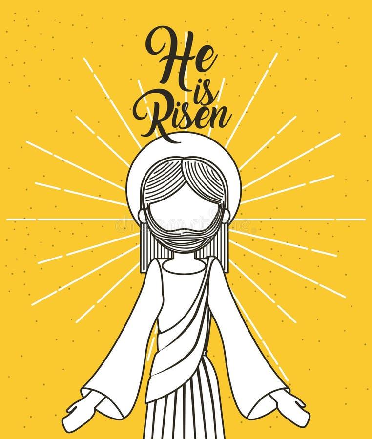 Han är den uppstigna jesus christ klosterbroderaffischen vektor illustrationer