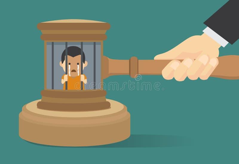 Han condenado al proscrito a detenido en la prisión stock de ilustración
