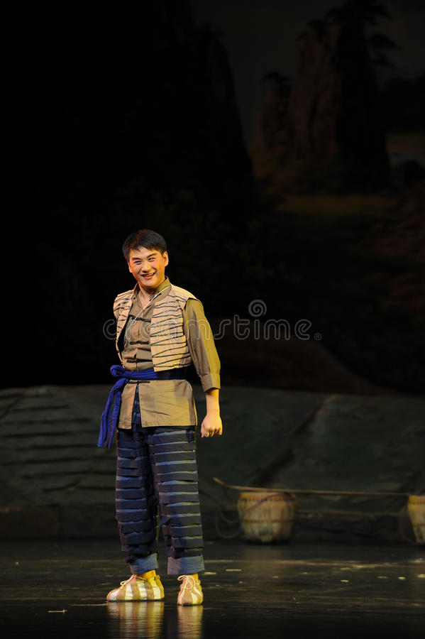 The Han nationality youth- Jiangxi opera a steelyard. Jiangxi opera a steelyard is adapted from a true story: the last century fortys, the protagonists father stock images