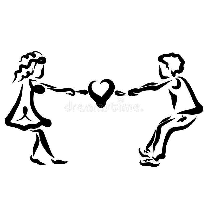 Han och hon drar hj?rtan i olika riktningar stock illustrationer