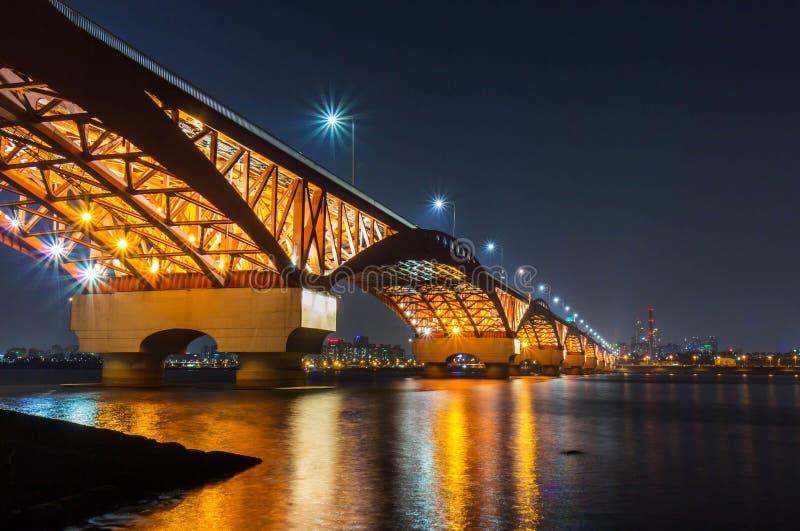 Han River and Seongsan Bridge at Night royalty free stock images