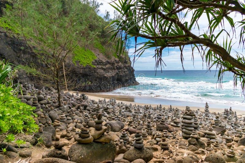 Hanakapiai海滩-考艾岛 免版税图库摄影