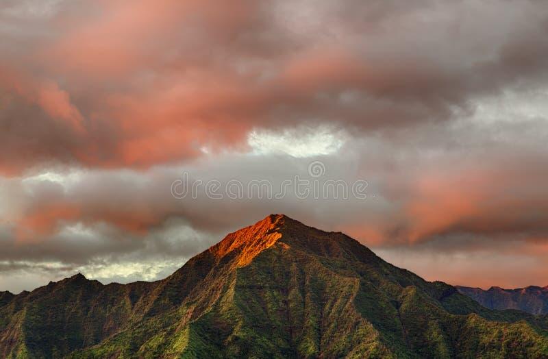 Hanalei全景在考艾岛海岛上的  库存图片