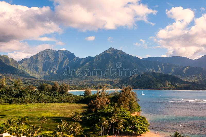 Hanalei海湾在考艾岛,夏威夷 库存照片