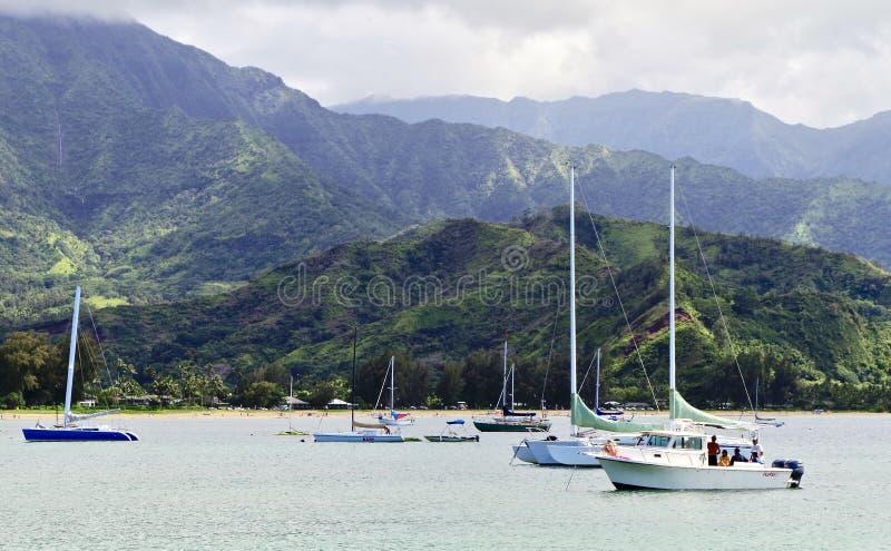 Hanalei海湾,考艾岛,夏威夷,美国 免版税库存图片