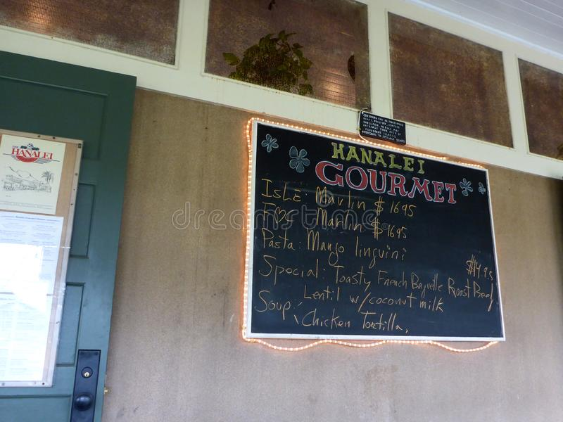 Hanalei gourmet- kritameny royaltyfria foton