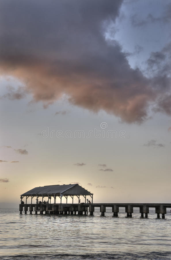 Hanalei Pier at dusk, Kauai,Hawaii.Vertical.