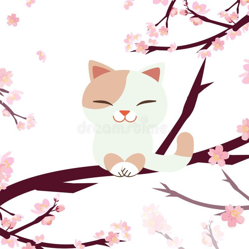 Hanami Festival. cherry blossom festival. festival in Japan. Relaxing cat. Cat sitting on the sakura branch and  sakura tree stock illustration
