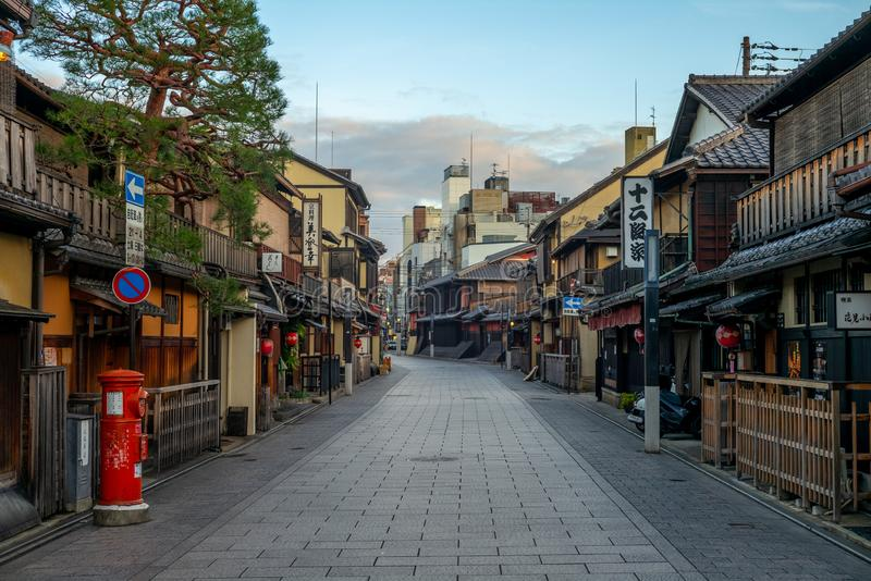 Hanamikoji Dori in gion, kyoto. Hanamikoji Dori is the main street of Gion, one of the most exclusive and well-known geisha districts in all of Japan royalty free stock photography