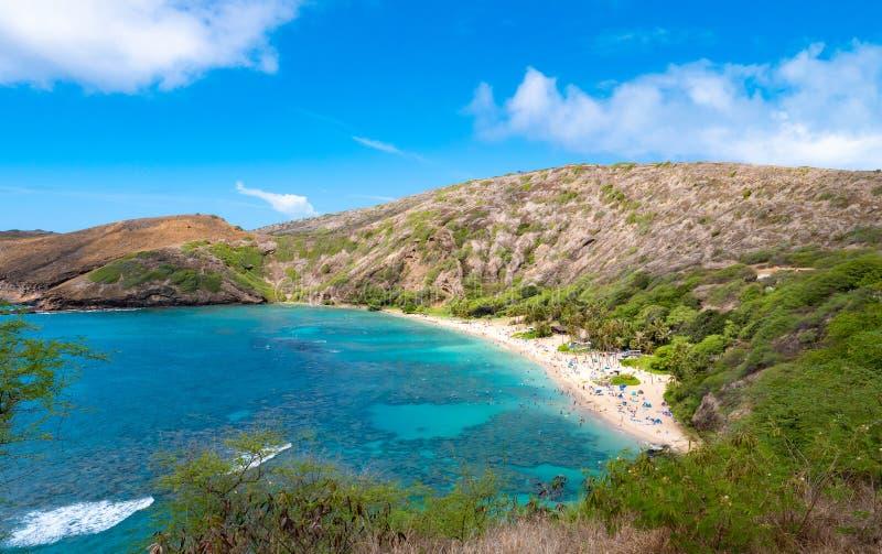 Hanauma Bay beach in Oahu island in Hawaii royalty free stock photography